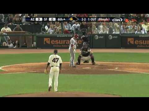 2009 Giants: Merkin Valdez strikes out four batters in 1.2 innings of work vs Diamondbacks (8.27.09)