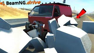 RUNNING OVER STYROFOAM BLOCKS Crazy Destruction BeamNG Drive