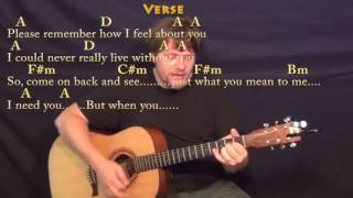 I Need You Beatles Strum Guitar Cover Lesson in A with ChordsLyrics