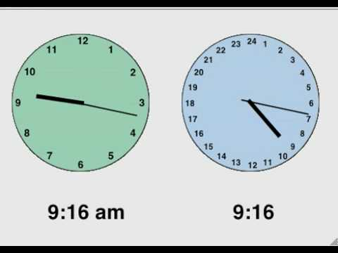 time on two analog clocks: am/pm vs 24 hour
