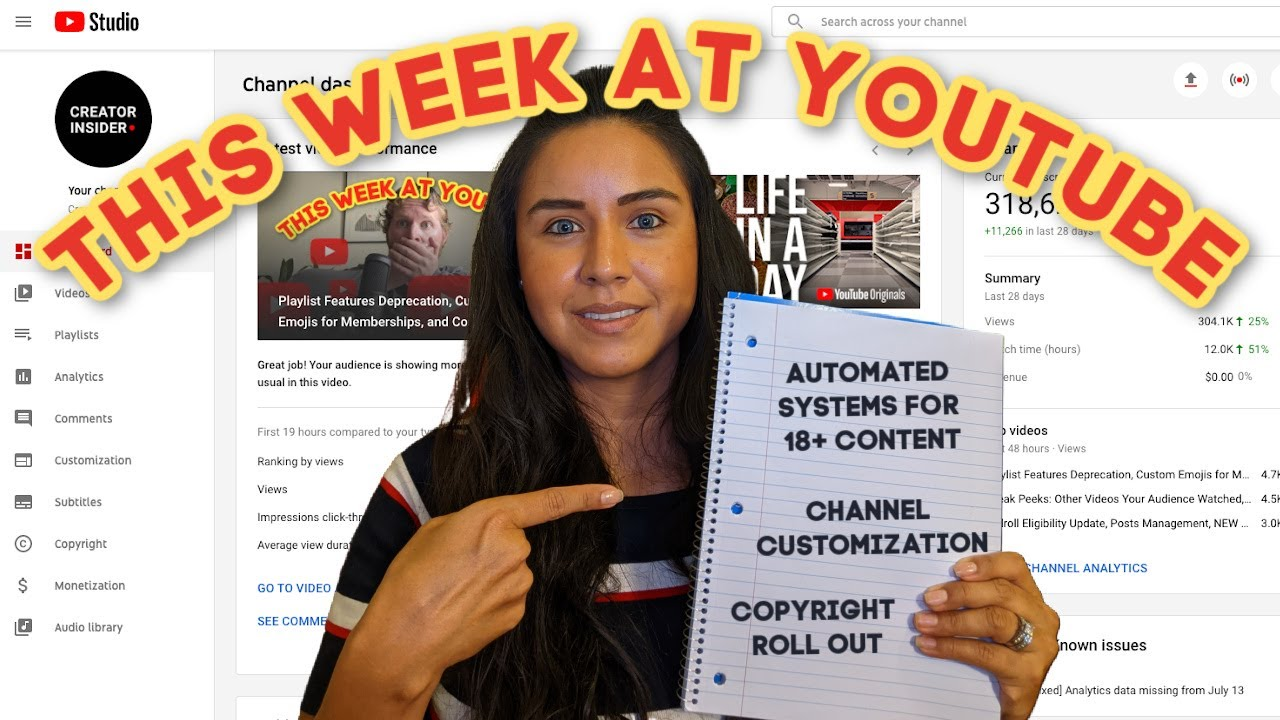 Using Automated Systems to Identify 18+ Content, Channel Customization, and Copyright Tab Expansion!