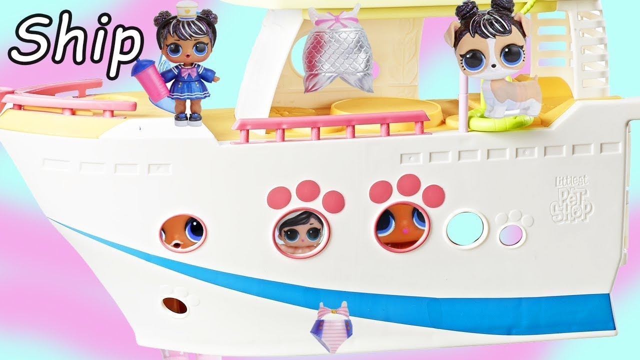 LOL Surprise Littlest Pet Shop Boat Cruise get Fuzzy Pets Grooming | Toy Egg Videos