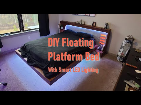 DIY Custom Floating Platform Bed With Modern Headboard and Smart Lighting