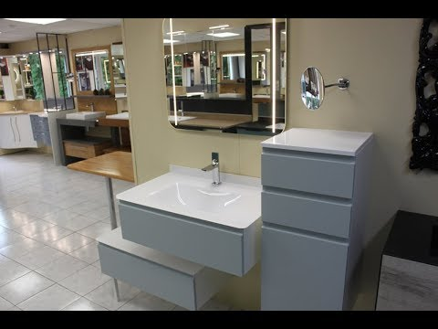 Meuble de salle de bain avec plan de toilette vasque en verre - ATLANTIC  BAIN