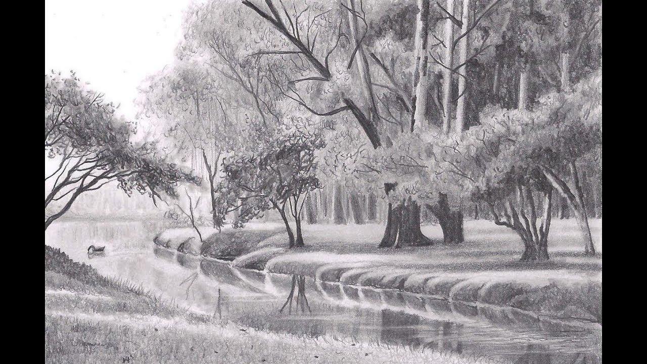 Desenho Realista De Paisagem Landscape Realistic Drawing Youtube