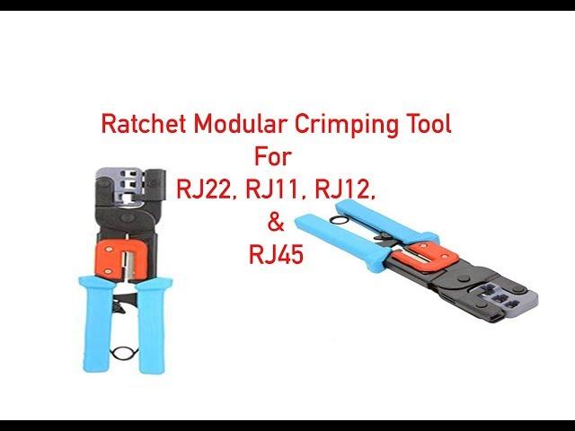 Ratchet Modular Crimping Tool for RJ22, RJ11, RJ12, and RJ45 P#93-100-050