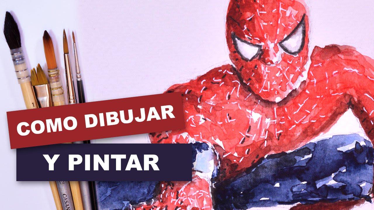Como dibujar y pintar facil al hombre araña con acuarela - YouTube