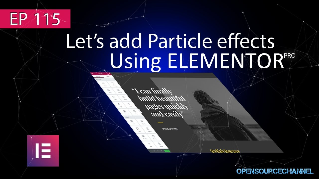 Add Particle effects to a web page using elementor page builder