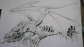 Drawing A Zombie Dragon Concept
