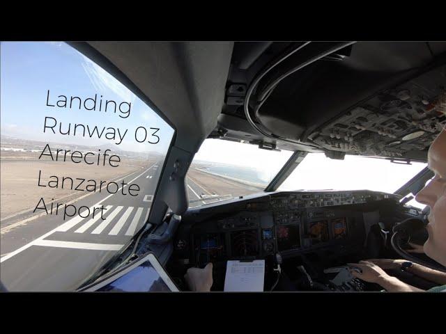 Landing runway 03 Arrecife Lanzarote airport (ACE GCRR).