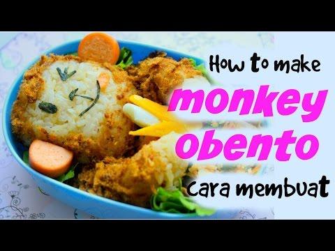 How To Make Kyaraben Monkey Obento   Cara Membuat Bekal Kyaraben Lucu Bentuk Monyet