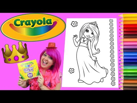 Coloring A Princess Crayola Coloring Book Page Colored Pencil | KiMMi THE CLOWN