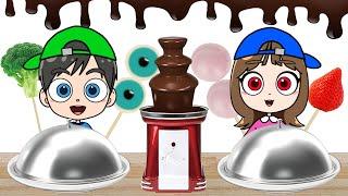 Chocolate Fondue Challenge Mukbang ASMR KOYA and NEMI
