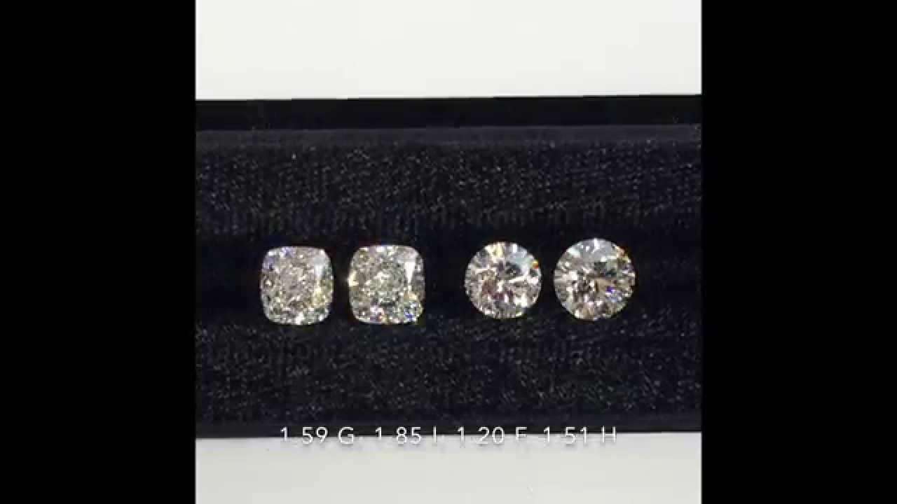 Loose Round Brilliant And Cushion Modified Diamonds Comparison 120