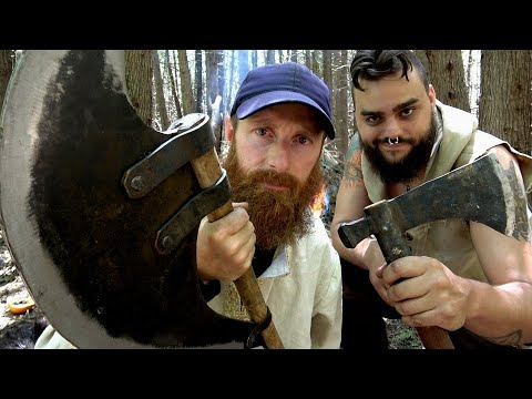 VIKINGS Eat Wild BEAVER Tail! [LARPING] | FIRE Arrow, Bearded Axe & Sword! | Catch, Pillage & Cook!