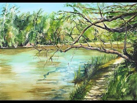 Lake in Watercolors Painting Tutorial