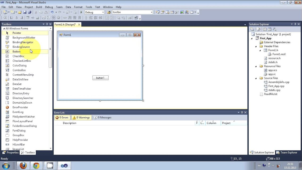 Visual C Tutorial 1 Windows Forms Application Getting Started Hello World Free Install