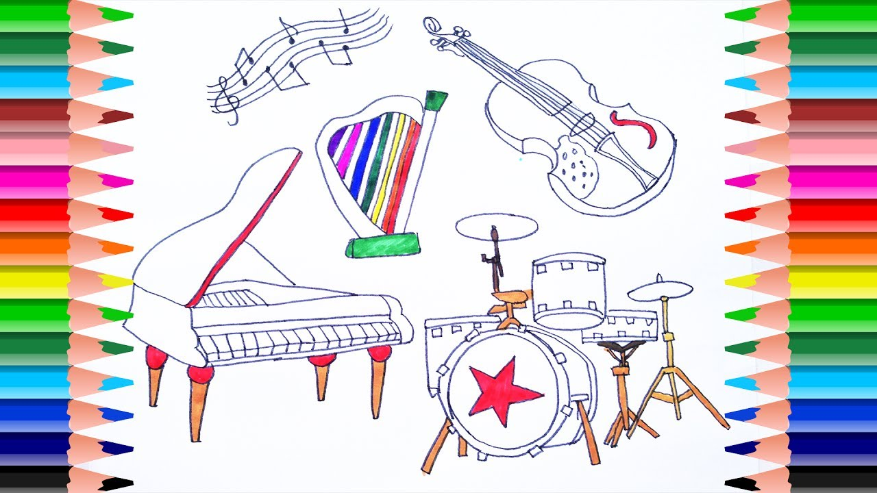 how to draw musical instruments for kids | coloing pages | violin