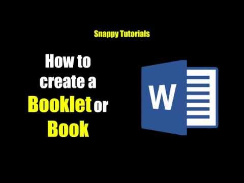 Create A Booklet Or Book Microsoft Word
