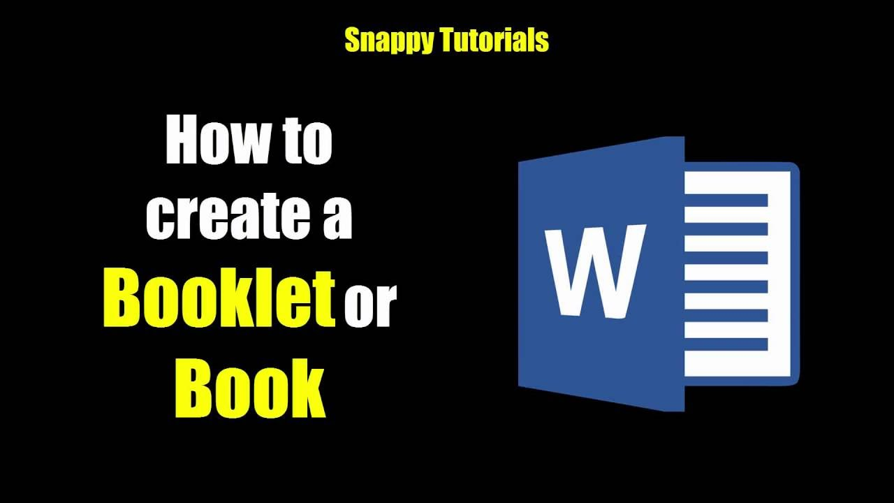 create a booklet or book microsoft word youtube