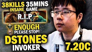 IMPOSSIBLE!!! DSTONES BRUTAL INVOKER 38 KILLS IN 35 MINS - INSANE GAME | DOTA 2 INVOKER 7.20C