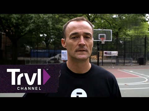 Host Nick Watt joins a mixed gender basketball game at the historic Rucker Park in Harlem