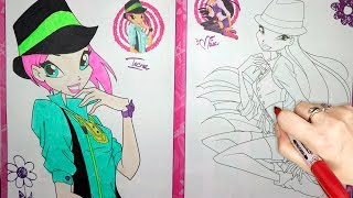 Winx Club Flora and Musa Coloring Page l Coloring Markers Videos For Children Learn Colors kids