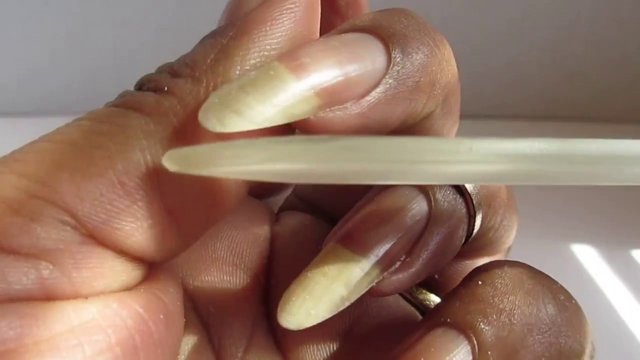 Filing My Natural Nails Using a Glass Nail File - YouTube