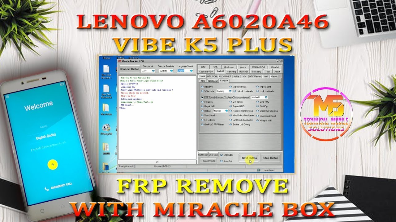 LENOVO A6020A46 VIBE K5 FRP REMOVE WITH MIRACLE BOX CRACK