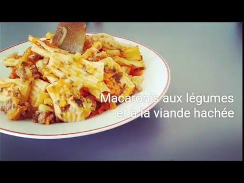 recette-/-macaronis-aux-légumes-et-à-la-viande-hachée