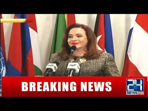FM Shah Mehmood and UNGA President María Fernanda Press Talk
