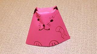 КОШКА ОРИГАМИ из бумаги(Как сделать из бумаги кошку Поделки для Детей https://www.youtube.com/user/PodelkidljaDetej Как сделать ЗАЙЧИКА ИЗ БУМАГИ https://www..., 2014-09-11T18:56:29.000Z)