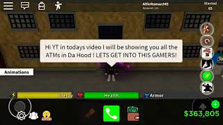 Da Hood (Roblox) | All ATM cash points *NEW* | Make Cash In Da Hood