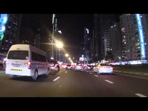 Emirats Arabes Unis Dubai Centre ville de nuit, Partie 1, Gopro / UAE Dubai City center Part 1