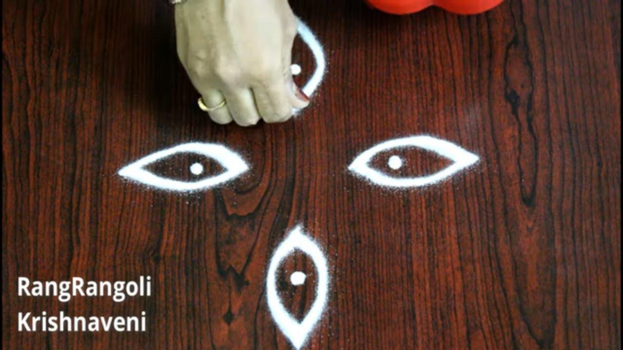 Small Daily Rangoli Designs | Simple Kolams for Beginners | Easy 2 dots Muggulu | RangRangoli