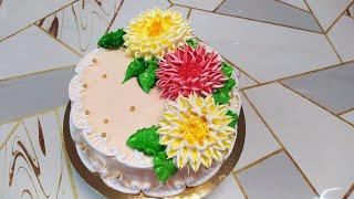 Торт с георгинами Тестируем новую насадку