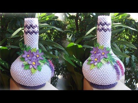 3D Origami Vase V2 Tutorial | DIY Paper Flower Vase Home Decoration