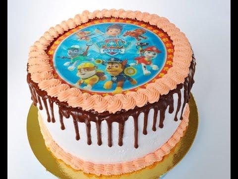 Как наложить вафельную картинку на торт. Торт  Щенячий патруль