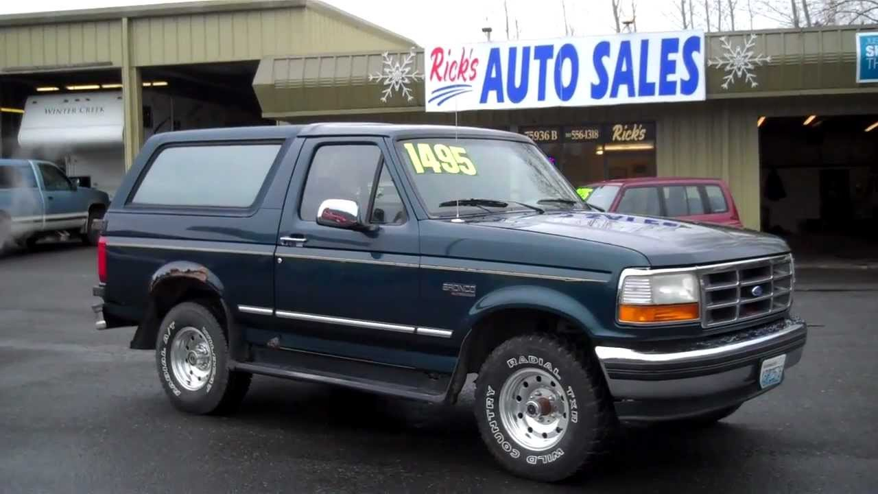 Country Auto Sales >> 1995 FORD BRONCO XLT 4X4 SOLD!!!! - YouTube