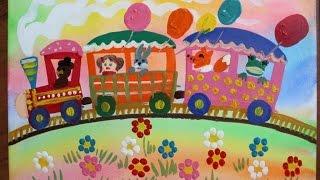 Как нарисовать паровозик гуашью поэтапно. Видео уроки рисования для детей 5-8 лет.(Как нарисовать паровозик гуашью? Легко! Смотрите пошаговую инструкцию на канале
