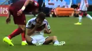 Pepe ( Red Card ) Foul on Thomas Muller - Germany vs Portugal - World CUp -2014 (FIGHT)