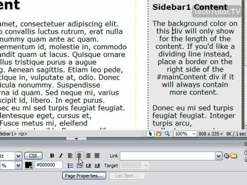 Align Text In Dreamweaver CS3