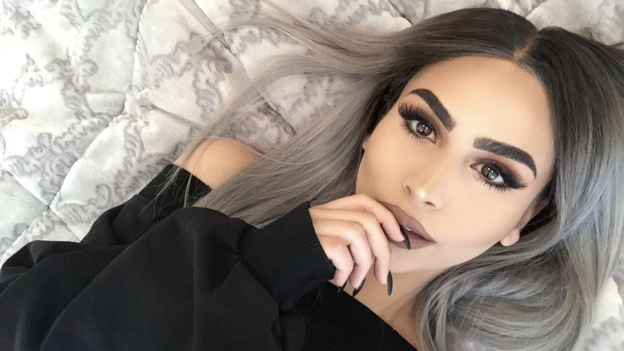 grwm fall makeup grey hair edition