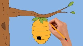 How to Draw a Beehive Step by Step Easy | Coloring Page, Drawing Learn Colors For Kids