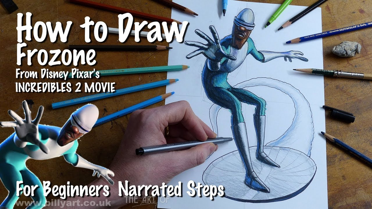 How to Draw Frozone from Incredibles 2 voiced by Samuel L ...