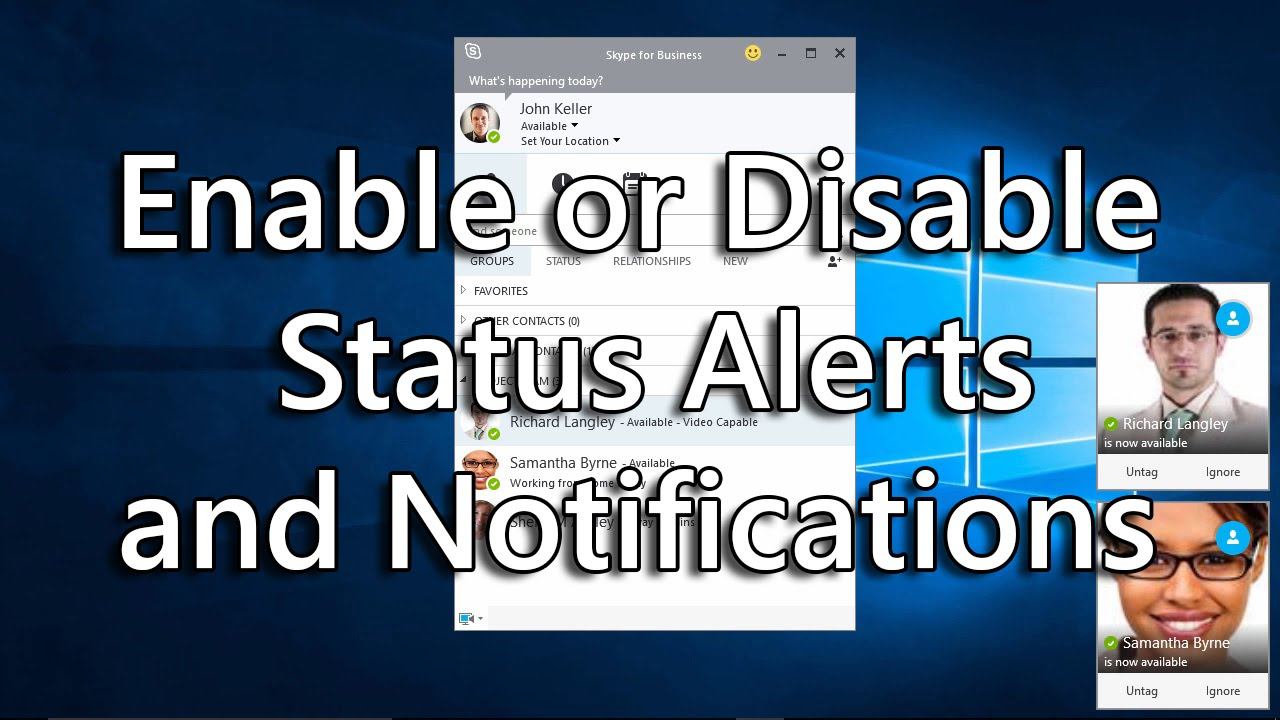 Skype for Business: Enable or Disable Status Alerts and Notifications