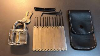 [318] Banggood 12 Piece Pick Set and Transparent Padlock Review