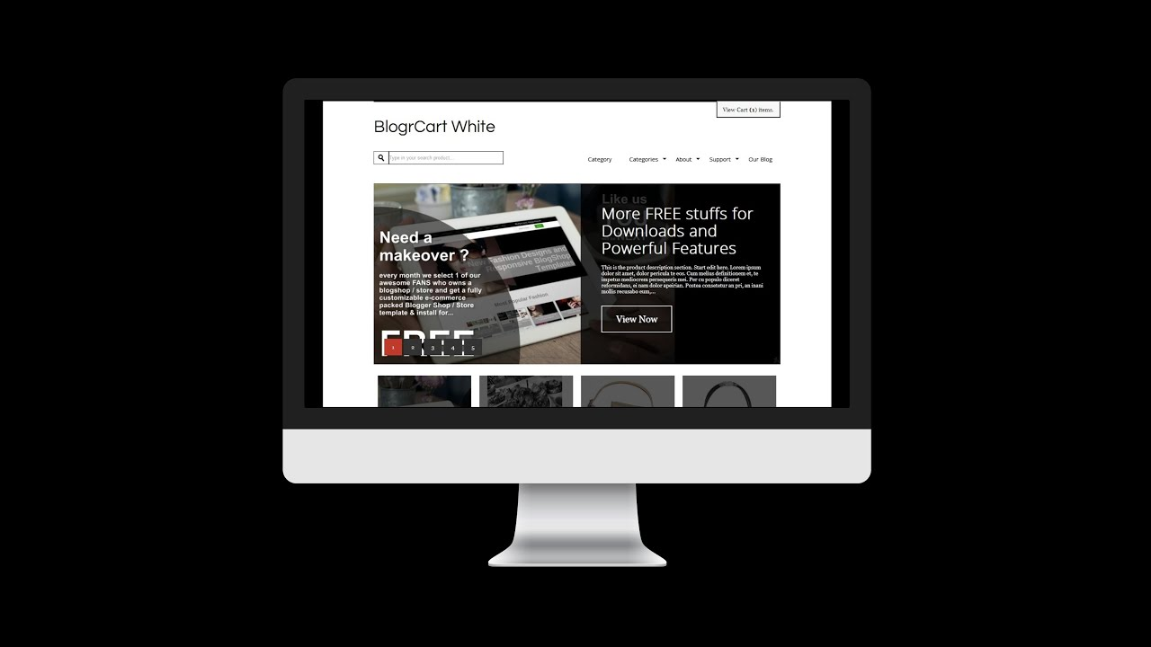 New Shopping Cart Install BlogrCart White Blogger Template & How ...