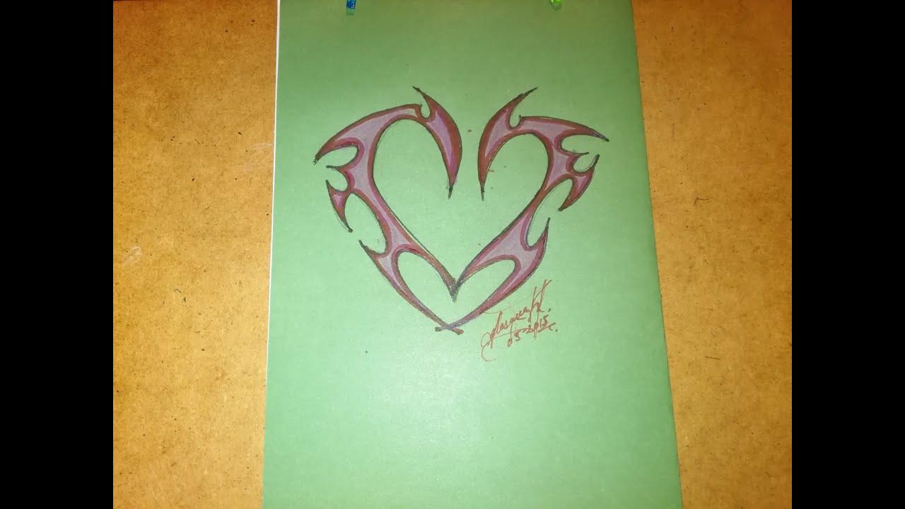 Como Dibujar Un Corazon Para Hacer Tatuaje How To Draw A Heart For