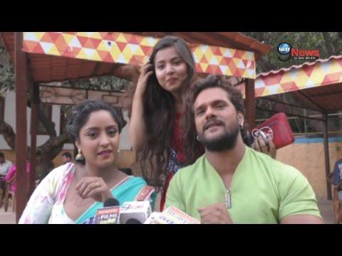 खेसारी ने फिल्म के सेट पर शूटिंग के दौरान प्रिया सिंह को बनाया बहिन | Aatankwadi Bhojpuri Film Shoot